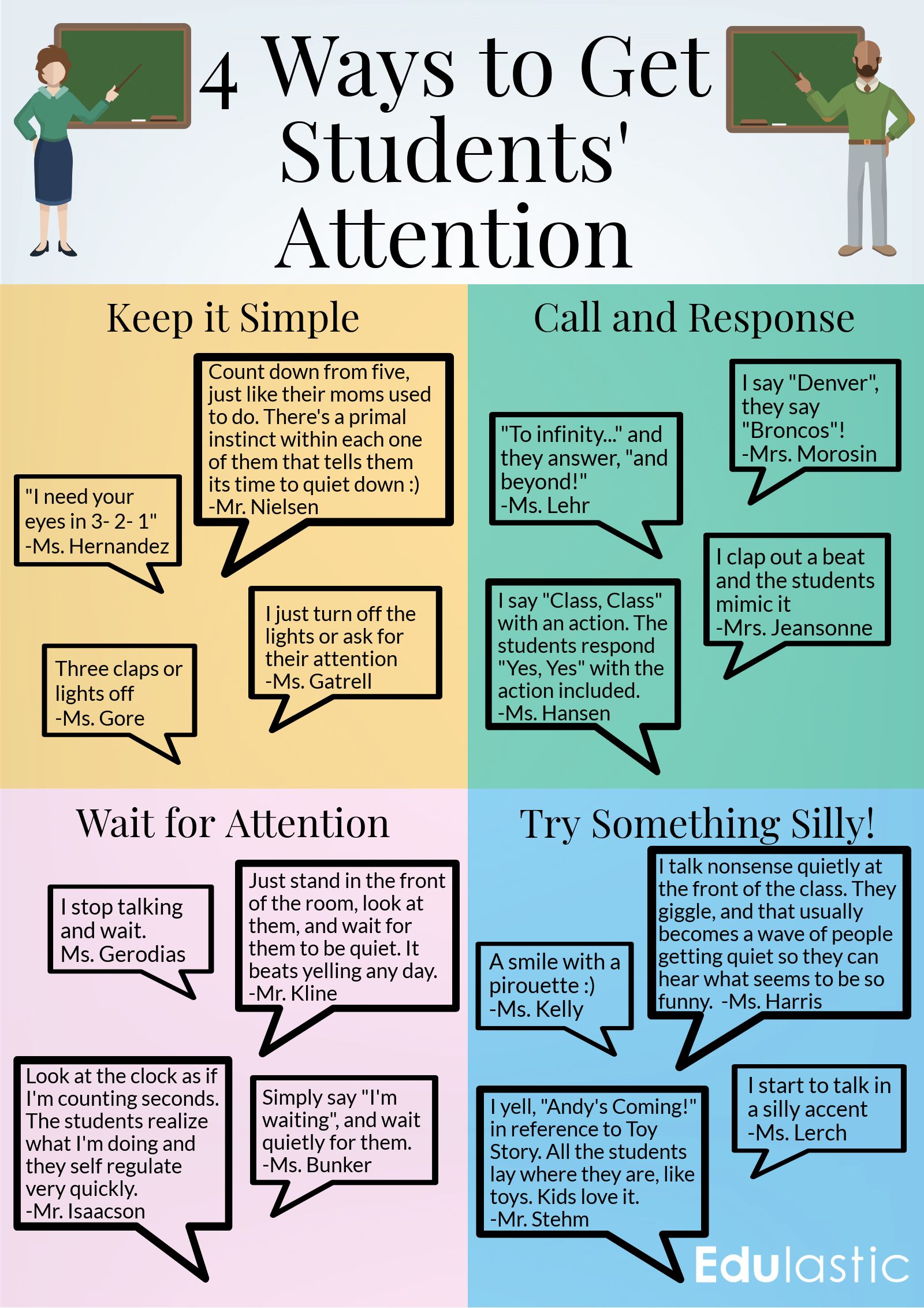 4 ways to get students' attention infographic